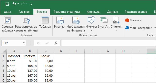 Вводим данные в Excel